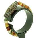 Многоцветный браслет из обсидиана с бусиной Дзи с 6-ю глазами